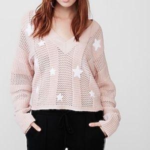 Express Soft Star Oversized V-Neck Blush Sweater